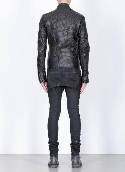Leon Emanuel Blanck men distortion aviator leather jacket lined wild alligator leather black hide m 7