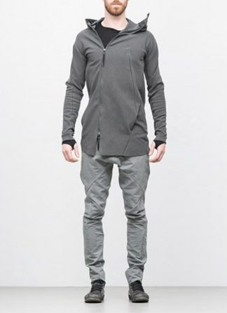 Leon Emanuel Blanck men distortion zipped hoody dark grey cotton elastan hide m 2
