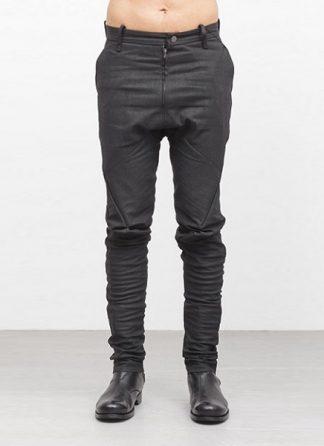 Leon Emanuel Blanck men forced fitted pants FP FLP 01 RESINATED COTTON LINEN TWILL CO LI EA black hide m 2