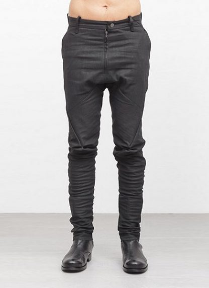 Leon Emanuel Blanck men forced fitted pants FP FLP 01 RESINATED COTTON LINEN TWILL CO LI EA black hide m 2