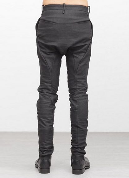 Leon Emanuel Blanck men forced fitted pants FP FLP 01 RESINATED COTTON LINEN TWILL CO LI EA black hide m 4