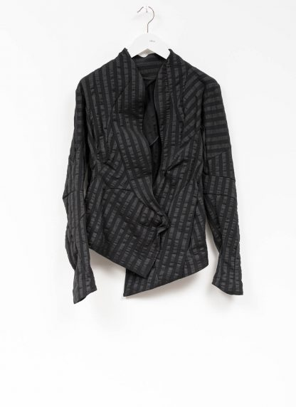 Leon Emanuel Blanck women DIS W SBJ 01 distortion short blazer jacket stripe damen frauen stretch linen cotton black hide m 2