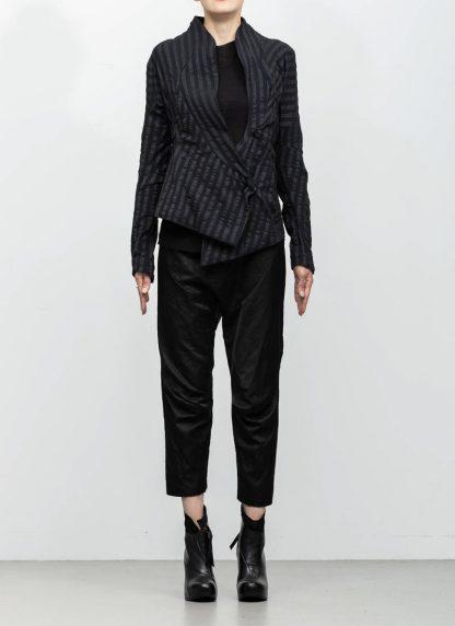 Leon Emanuel Blanck women DIS W SBJ 01 distortion short blazer jacket stripe stretch linen cotton black hide m 4