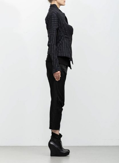 Leon Emanuel Blanck women DIS W SBJ 01 distortion short blazer jacket stripe stretch linen cotton black hide m 5