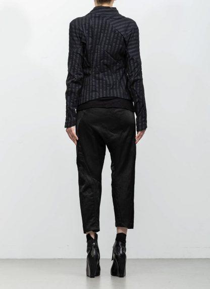 Leon Emanuel Blanck women DIS W SBJ 01 distortion short blazer jacket stripe stretch linen cotton black hide m 6