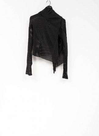 Leon Emanuel Blanck women DIS W WCDG 01 SV distortion pael stripe wrap cardigan short black cotton pa hide m 2