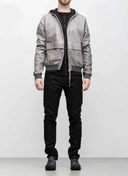 M.A maurizio amadei men deep pocket hooded bomber jacket J330H grey super soft lamb leather TEX 0.5 hide m 3