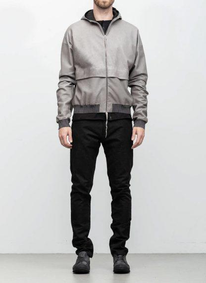 M.A maurizio amadei men deep pocket hooded bomber jacket J330H grey super soft lamb leather TEX 0.5 hide m 4