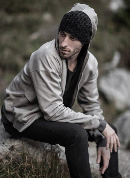 M.A maurizio amadei men deep pocket hooded bomber jacket J330H grey super soft lamb leather TEX 0.5 hide m 8