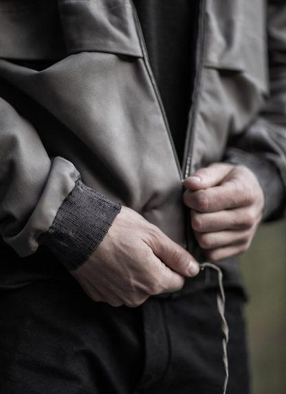 M.A maurizio amadei men deep pocket hooded bomber jacket J330H grey super soft lamb leather TEX 0.5 hide m 9