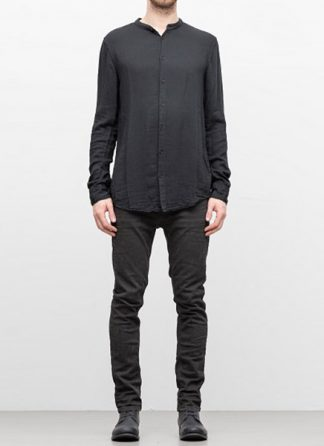 POEME BOHEMIEN FW18 men back seam no collar shirt cotton viskose wool black hide m 2