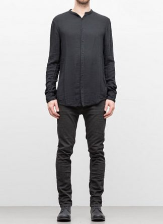 POEME BOHEMIEN FW18 men back seam no collar shirt cotton viskose wool dark grey hide m 2