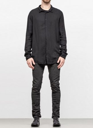 POEME BOHEMIEN men regular shirt cotton viskose wool black hide m 2
