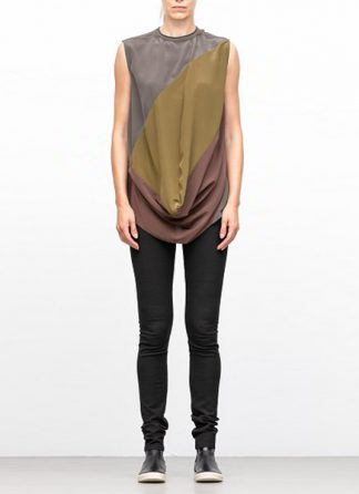 Rick Owens women fw18 sisyphus woven inhuman top drkdst dirty green raisin hide m 2