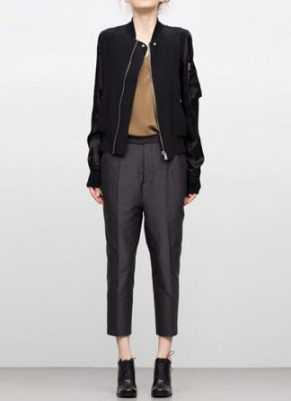 Rick Owens women ss19 babel jacket flight bomber shirred silk black hide m 2