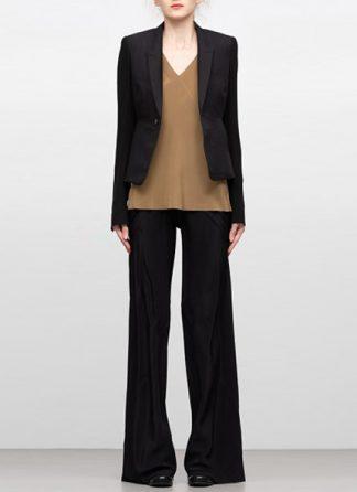 Rick Owens women ss19 jacket short blazer tux cotton silk black hide m 2