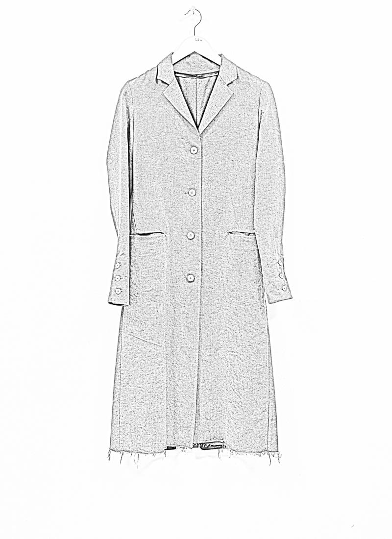 M.A+ by M. Amadei , CW112 4 Button Back Slit Coat, military grey, wool linen cotton