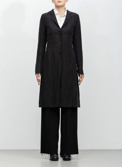 m.a maurizio amadei women fitted 3 button unlined coat mantel CW183 linen cupro black hide m 4