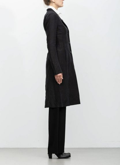 m.a maurizio amadei women fitted 3 button unlined coat mantel CW183 linen cupro black hide m 5