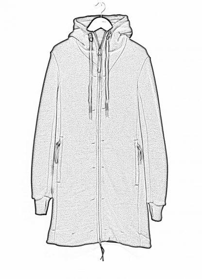 BORIS BIDJAN SABERI roots men herren long hoodie zip jacket ZIPPER3 FWT00001 CO WO PA WS black hide m 1