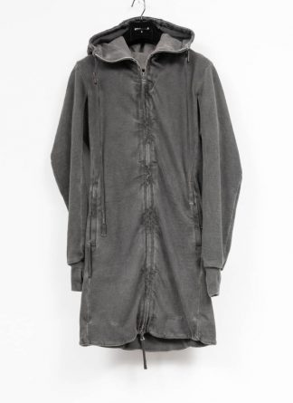 BORIS BIDJAN SABERI roots men long hoodie jacket ZIPPER3 FMV00014 cotton patina grey hide m 2