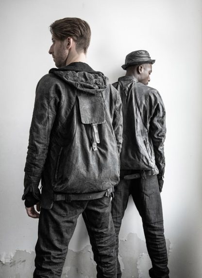 LAYER 0 Alessio Zero men E caban jacket with backpack herren jacke canvas cotton grey hide m 10