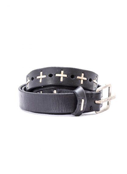 M.A MAURIZIO AMADEI men women cross studded q buckle med belt damen herren guertel EQ2C GR 3.0 cow leather 925 sterling silver black hide m 3
