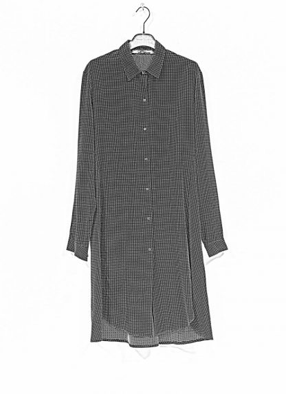 M.A MAURIZIO AMADEI women oversize long shirt HW300L RTC ramie tencel cotton black with white crosses hide m 1