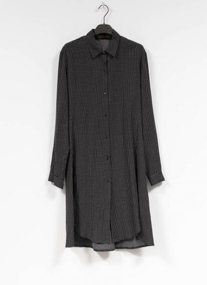 M.A MAURIZIO AMADEI women oversize long shirt HW300L RTC ramie tencel cotton black with white crosses hide m 2