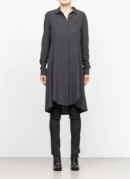 M.A MAURIZIO AMADEI women oversize long shirt HW300L RTC ramie tencel cotton black with white crosses hide m 3
