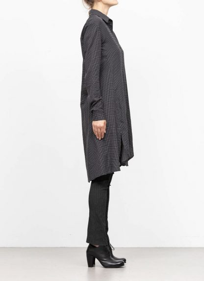 M.A MAURIZIO AMADEI women oversize long shirt HW300L RTC ramie tencel cotton black with white crosses hide m 4