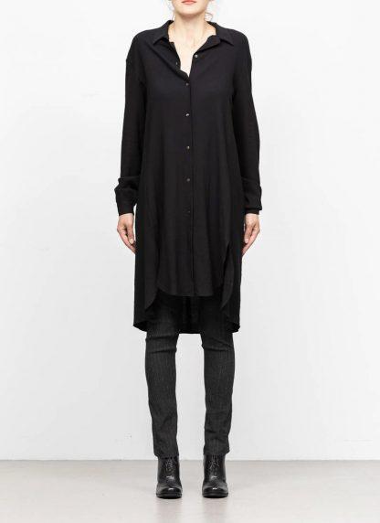 M.A MAURIZIO AMADEI women oversize long shirt hemd HW300L VWV7 viscose virgin wool elastan black hide m 3