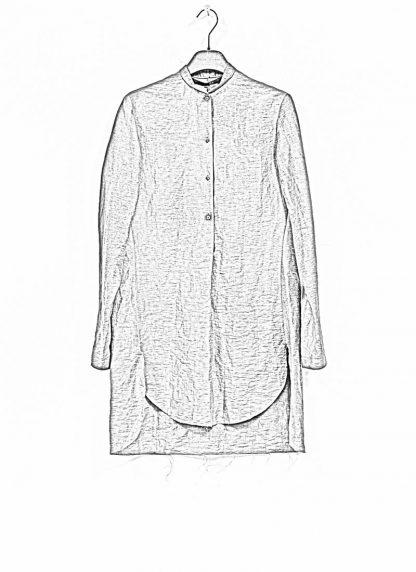 M.A MAURIZIO AMADEI women oversized short collar mixed shirt HW302L LPA linen polyamide black olive hide m 1