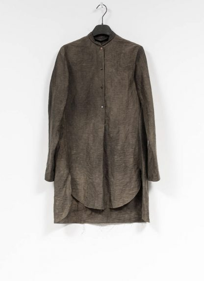 M.A MAURIZIO AMADEI women oversized short collar mixed shirt HW302L LPA linen polyamide black olive hide m 2