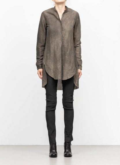 M.A MAURIZIO AMADEI women oversized short collar mixed shirt HW302L LPA linen polyamide black olive hide m 3