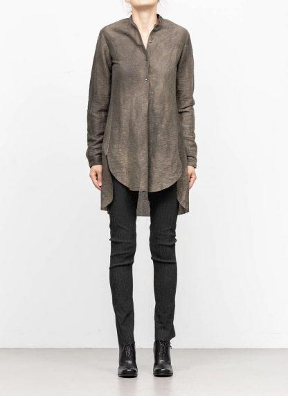 M.A MAURIZIO AMADEI women oversized short collar mixed shirt HW302L LPA linen polyamide black olive hide m 3
