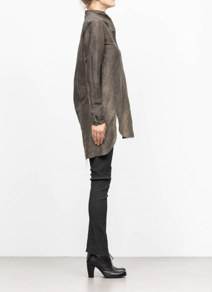 M.A MAURIZIO AMADEI women oversized short collar mixed shirt HW302L LPA linen polyamide black olive hide m 4