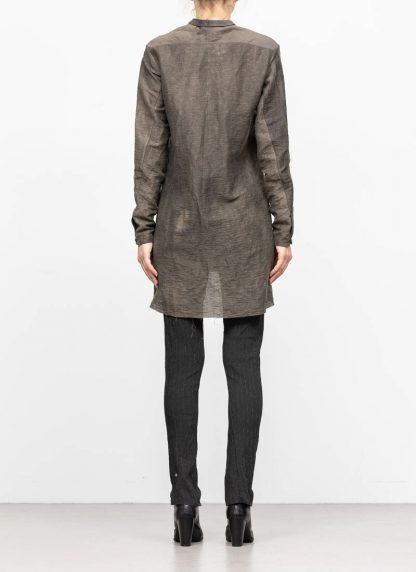 M.A MAURIZIO AMADEI women oversized short collar mixed shirt HW302L LPA linen polyamide black olive hide m 5