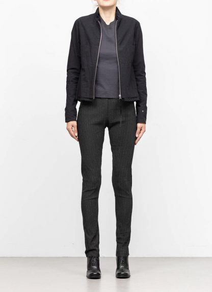 M.A MAURIZIO AMADEI women relaxed biker jacket lined JW227Z CRL1 cotton ramie linen black hide m 3