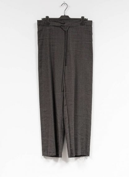 M.A MAURIZIO AMADEI women wide outer drawstring pants PW444 LVC flax viscose cotton coal stripes hide m 2