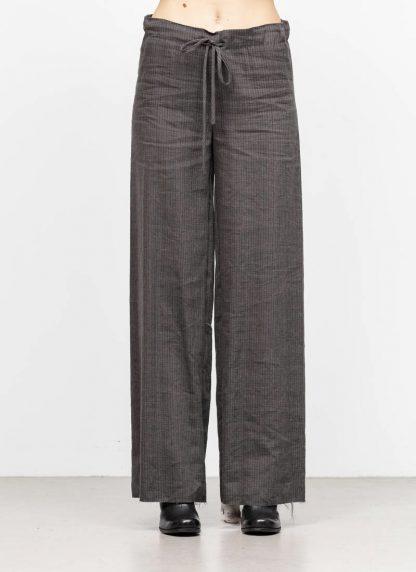 M.A MAURIZIO AMADEI women wide outer drawstring pants PW444 LVC flax viscose cotton coal stripes hide m 3