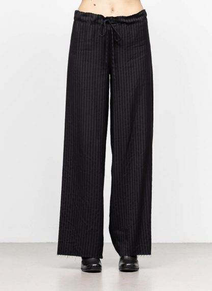 M.A MAURIZIO AMADEI women wide outer drawstring pants hose PW444 VWSTR viscose wool black with stripes hide m 3