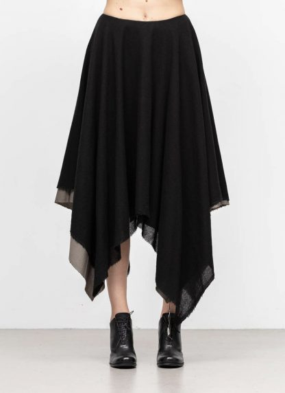 M.A MAURIZIO AMADEI women zipped square skirt damen rock K621M WVPK POPS2 virgin wool polyamide cashmere black coal hide m 3