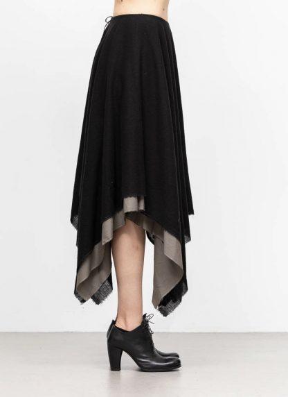 M.A MAURIZIO AMADEI women zipped square skirt damen rock K621M WVPK POPS2 virgin wool polyamide cashmere black coal hide m 4