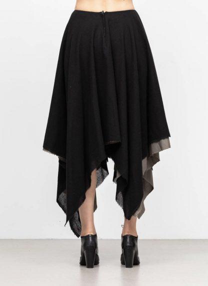 M.A MAURIZIO AMADEI women zipped square skirt damen rock K621M WVPK POPS2 virgin wool polyamide cashmere black coal hide m 5