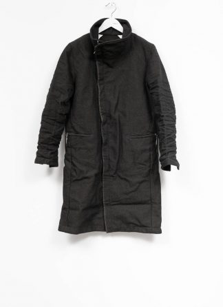 TAICHI MURAKAMI fw1920 men parka herren mantel high neck coat carded wool ramie gabardine black hide m 2