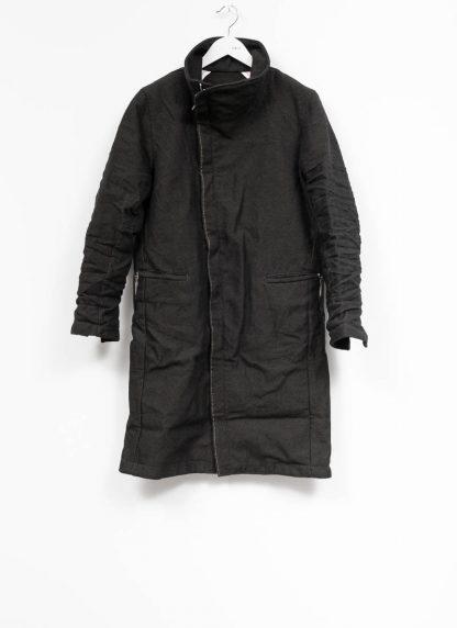 TAICHI MURAKAMI fw1920 men parka herren mantel high neck coat carded wool ramie gabardine black hide m 2