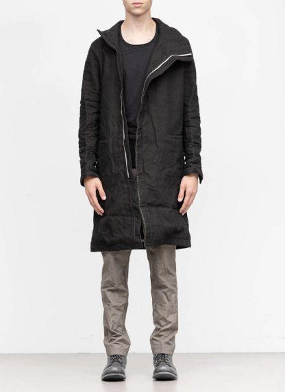 TAICHI MURAKAMI fw1920 men parka herren mantel high neck coat carded wool ramie gabardine black hide m 3