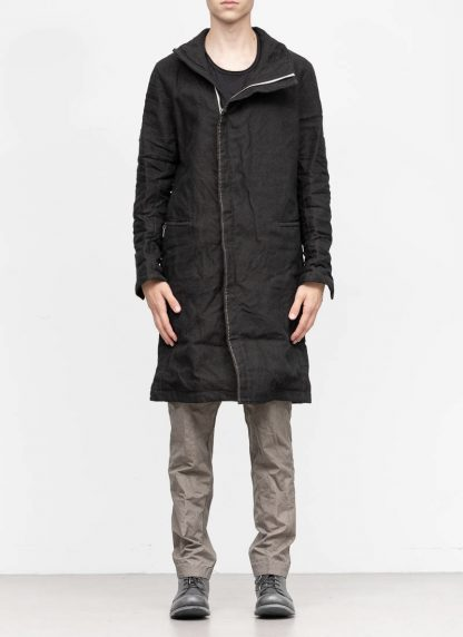 TAICHI MURAKAMI fw1920 men parka herren mantel high neck coat carded wool ramie gabardine black hide m 4