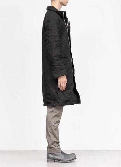 TAICHI MURAKAMI fw1920 men parka herren mantel high neck coat carded wool ramie gabardine black hide m 5
